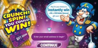 Quaker Cap'n Crunch Spin You Could Win Instant-Win Game