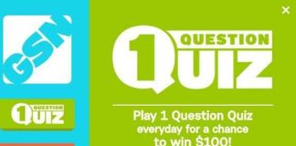 GSN 1 Question Quiz Sweepstakes