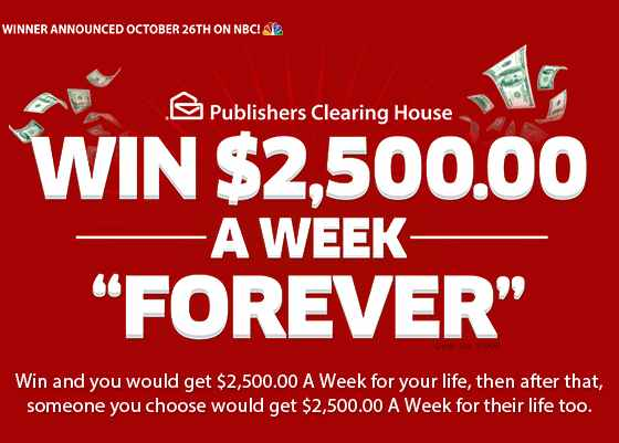 PCH $2,500 A Week Forever Sweepstakes