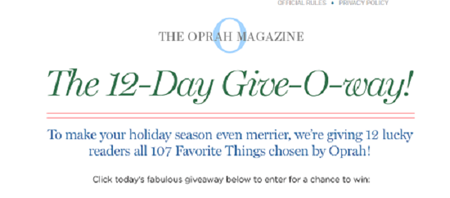 oprah 12days contest