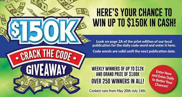 $150k Crack the Code Giveaway 2019 (Daily Code Word Update)