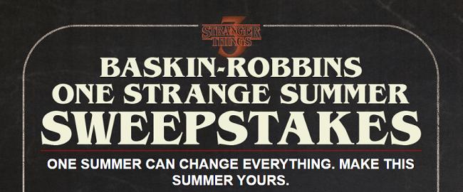Baskin Robbins One Strange Summer Sweepstakes Code Words 2019